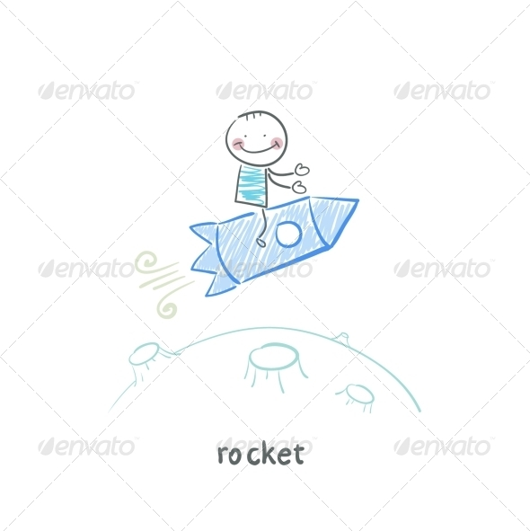 GraphicRiver Man on Rocket 5642619