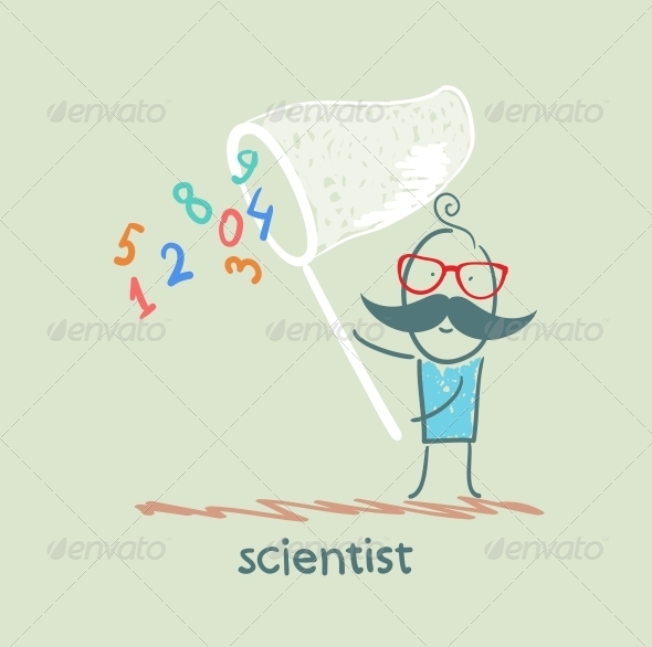 GraphicRiver Scientist Catches a Butterfly Net Figures 5642621
