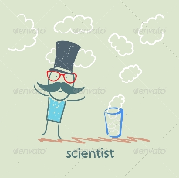 GraphicRiver Scientist Conjures a Glass and Clouds 5642639