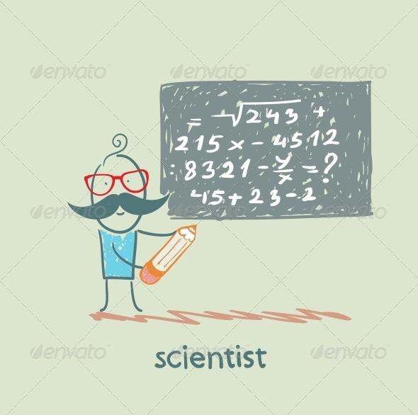 GraphicRiver Scientist Writes a Formula on the Blackboard 5642646