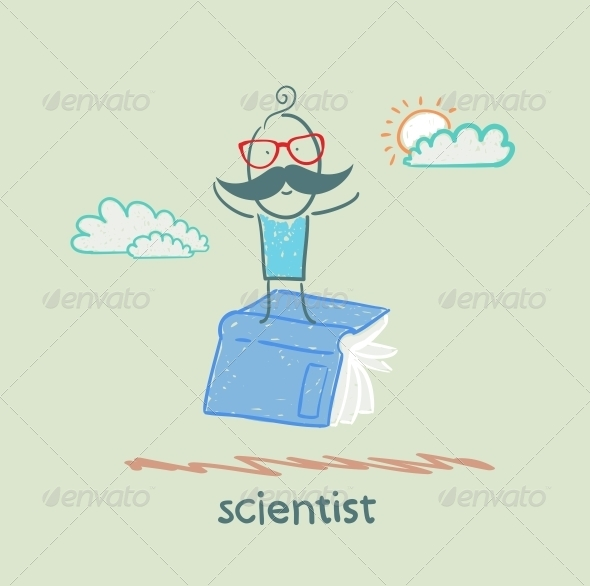 GraphicRiver Scientist is Flying on a Book 5642658