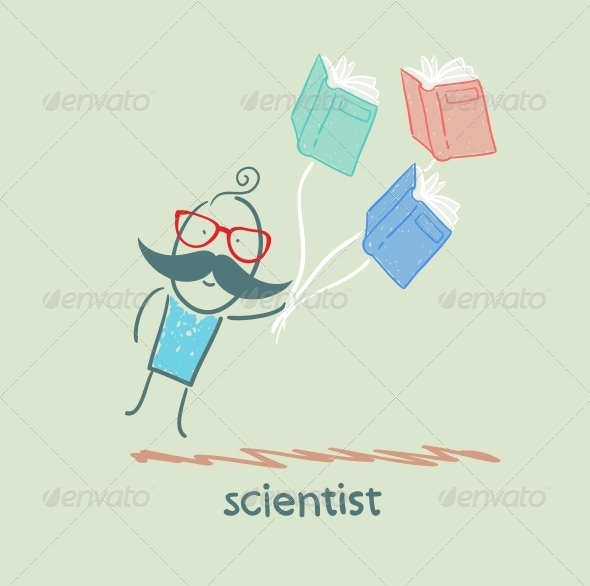GraphicRiver Scientist Flies With Books 5642682