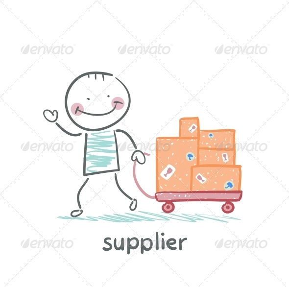 GraphicRiver Supplier Walks with a Cart of Goods 5642913