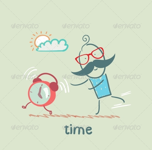 GraphicRiver Man Catching Clock 5642999
