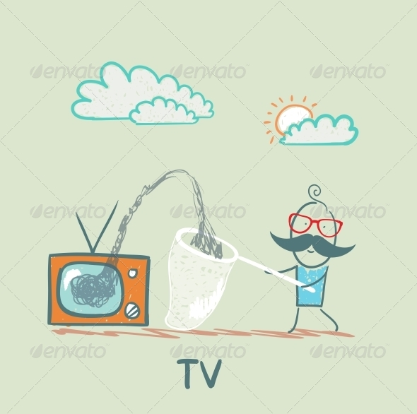 GraphicRiver Person Gathering Information From TV 5643310
