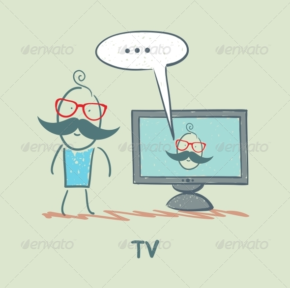 GraphicRiver Man Watching TV 5643401
