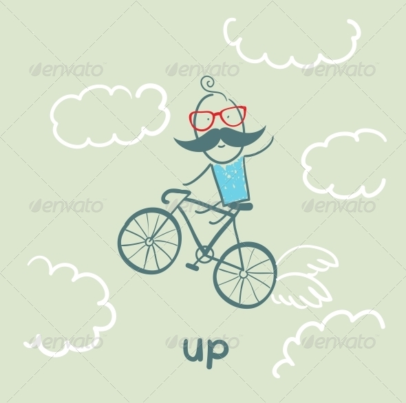 GraphicRiver Man Flying on a Bicycle 5643412