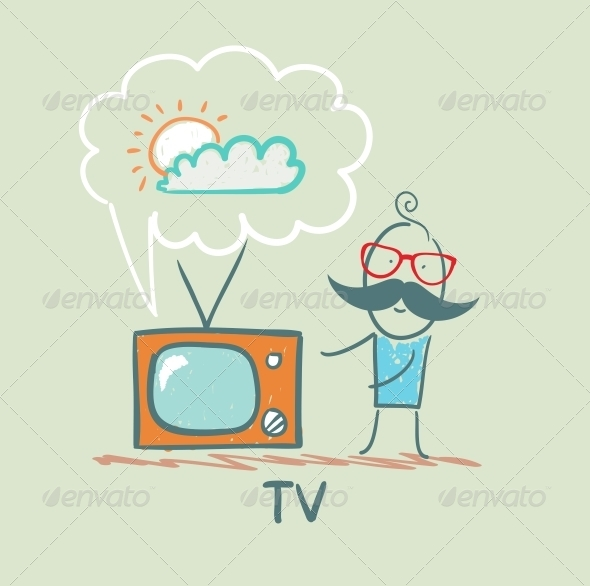GraphicRiver Man Watches TV 5643418