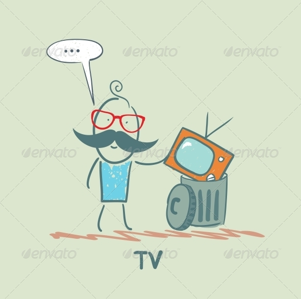 GraphicRiver Man Throws an Old Television 5643454