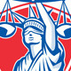 Statue of Liberty Raising Justice Scales Retro - GraphicRiver Item for Sale