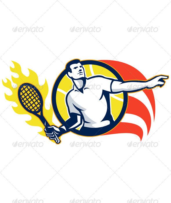 GraphicRiver Tennis Player Flaming Racquet Ball Retro 5644351