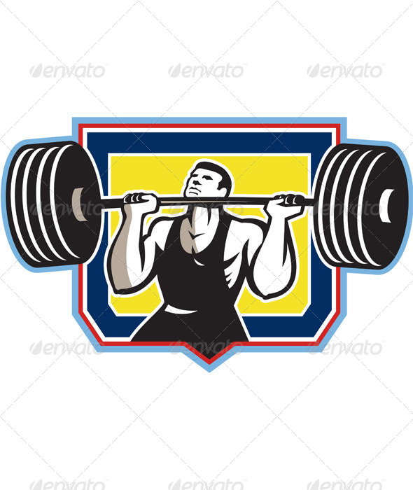 GraphicRiver Weightlifter Lifting Heavy Barbell Retro 5644457