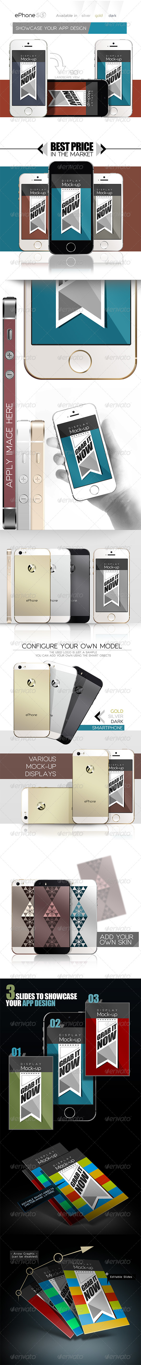 GraphicRiver ePhone 5s MockUps Display Skin 3 colors Front&back 5645014