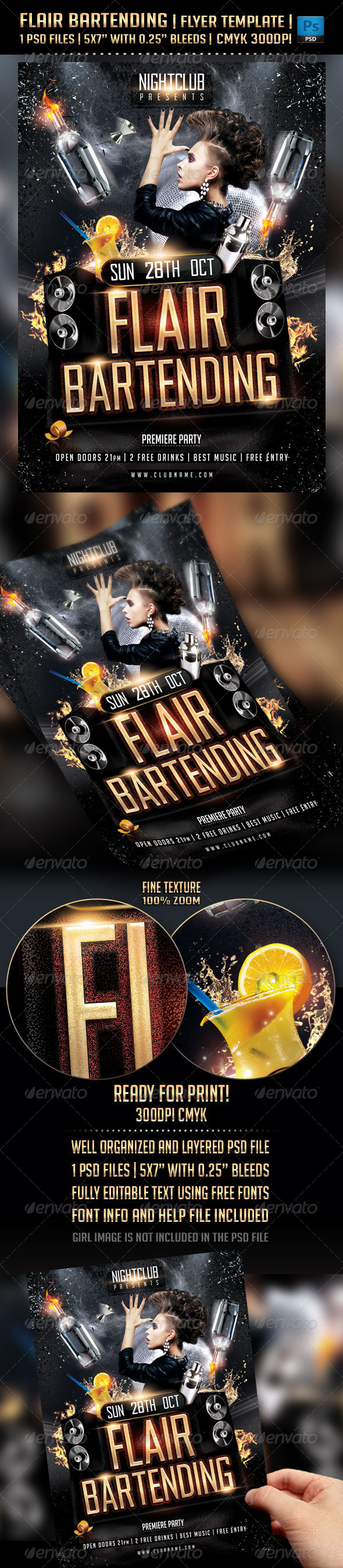 GraphicRiver Flair Bartending Flyer Template 5645516