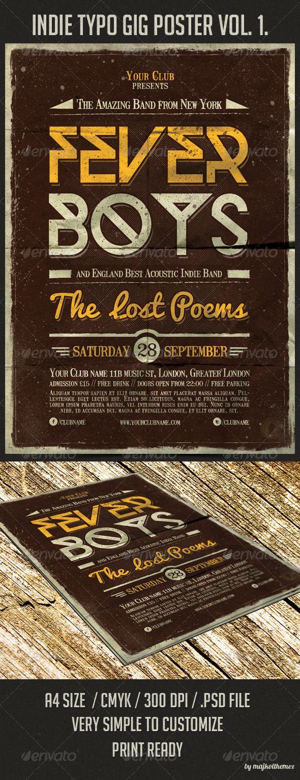 GraphicRiver Indie Typo Gig Poster vol.1 5645827