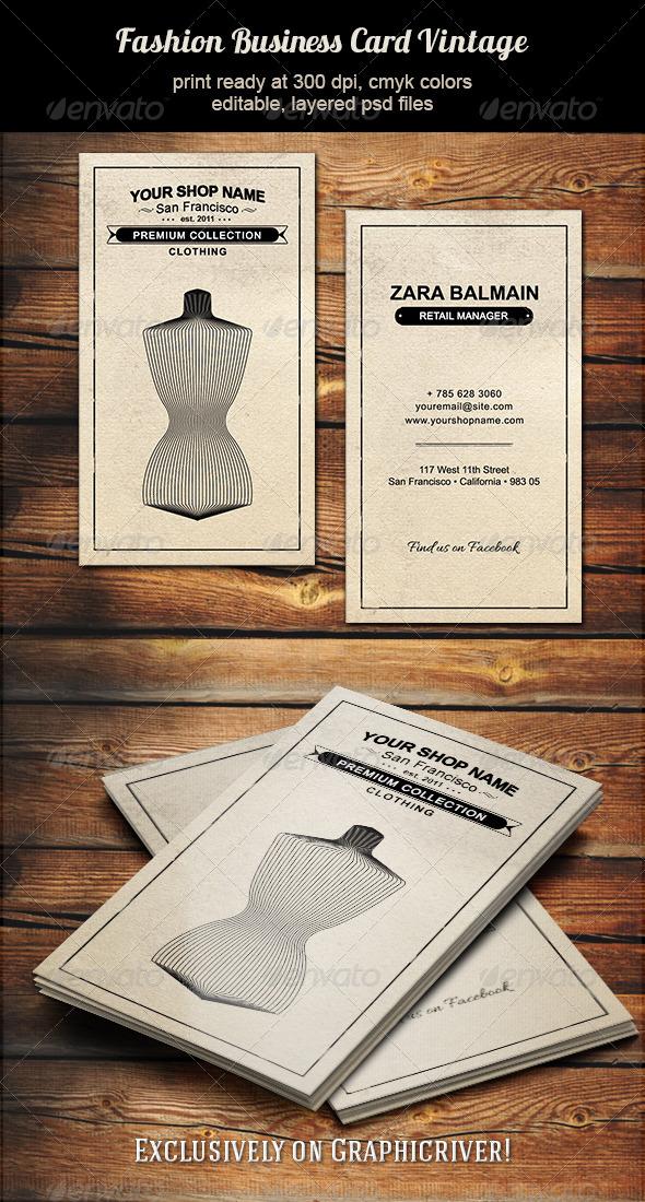 GraphicRiver Fashion Business Card Vintage 5645960