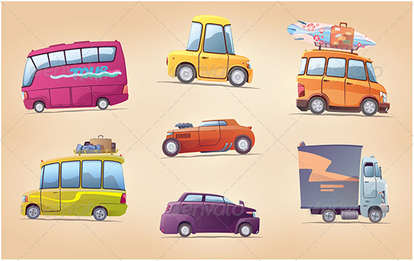 GraphicRiver Cartoon Cars Set 5647890