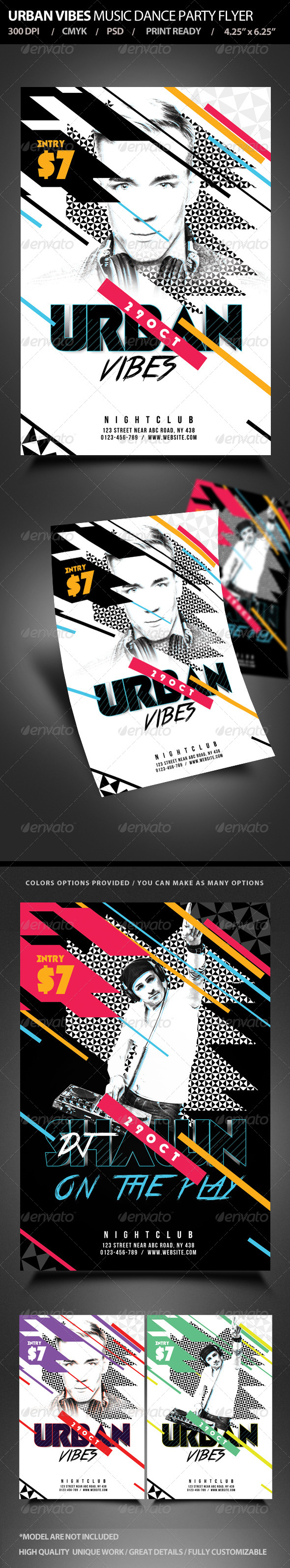 Urban Vibes Music Dance Party Flyer - Clubs & Parties Events