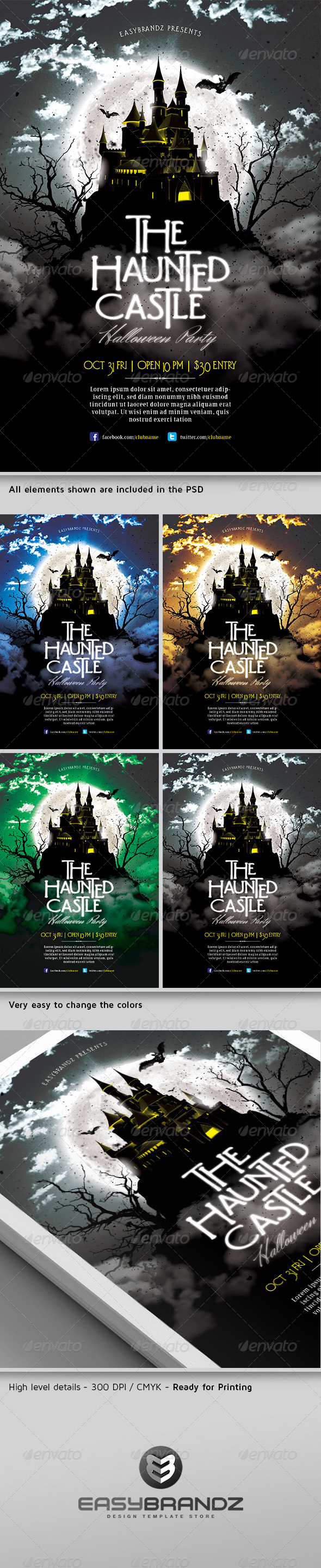 The Haunted Castle Flyer Template  - Holidays Events