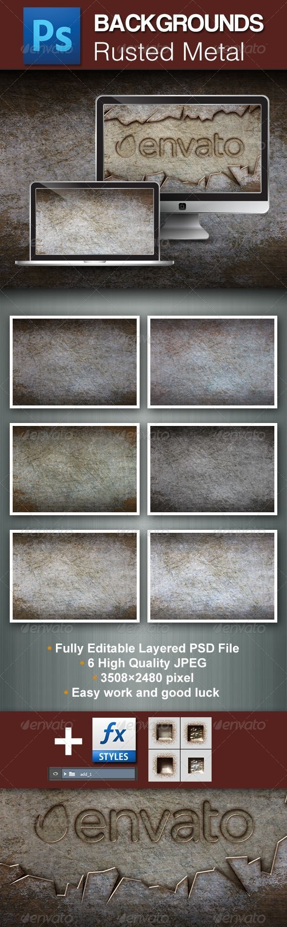 GraphicRiver Rusted Metal PSD Backgrounds 5650291