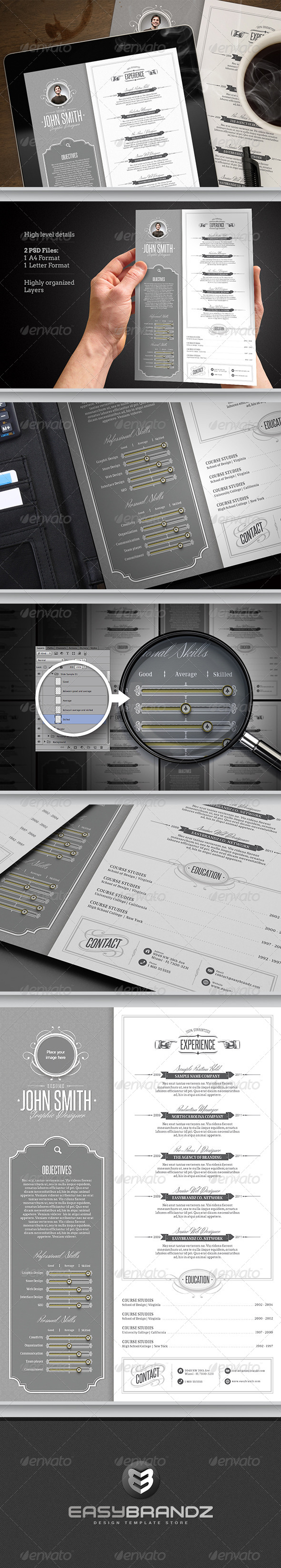 GraphicRiver Retro Resume Template 5581613