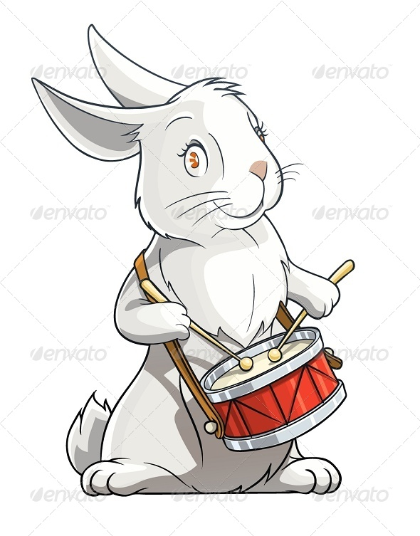 GraphicRiver Hare Playing Drum 5652665