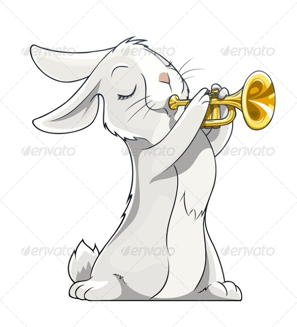 GraphicRiver Hare Playing Trumpet 5652666