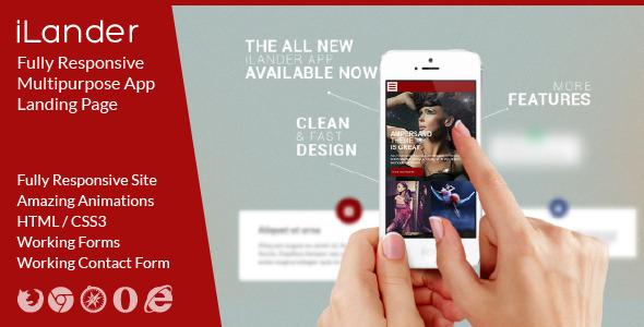 ThemeForest iLander Responsive Multipurpose App Landing Page 5653438