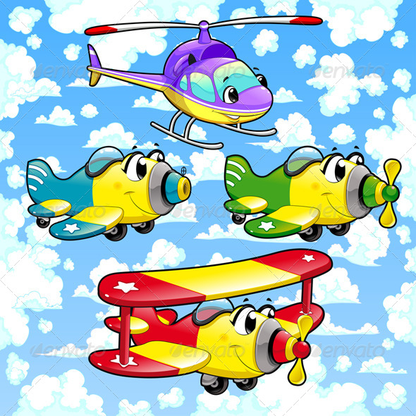 GraphicRiver Cartoon Airplanes and Helicopter in the Sky 5653550