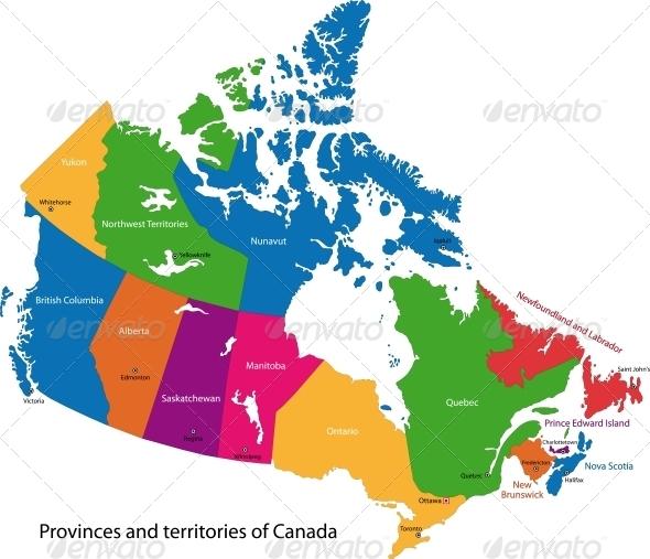 GraphicRiver Colorful Canada Map 5653606