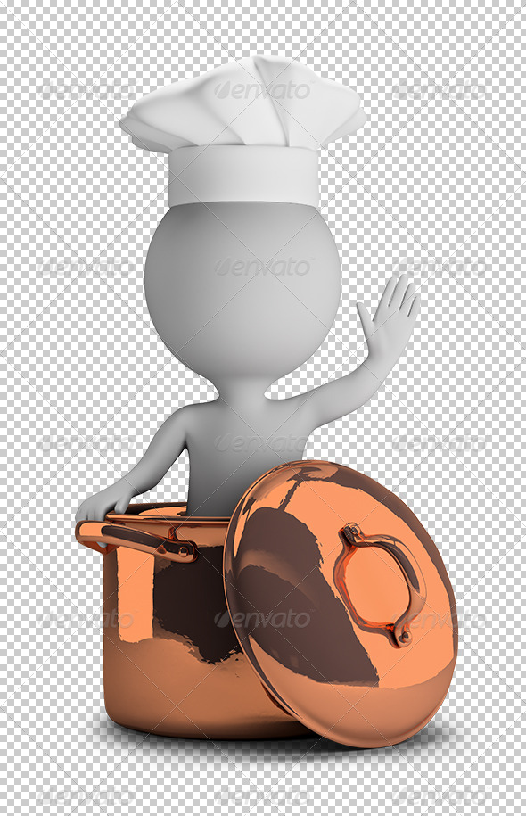 GraphicRiver 3D Small People Cook in a Copper Pan 5656503
