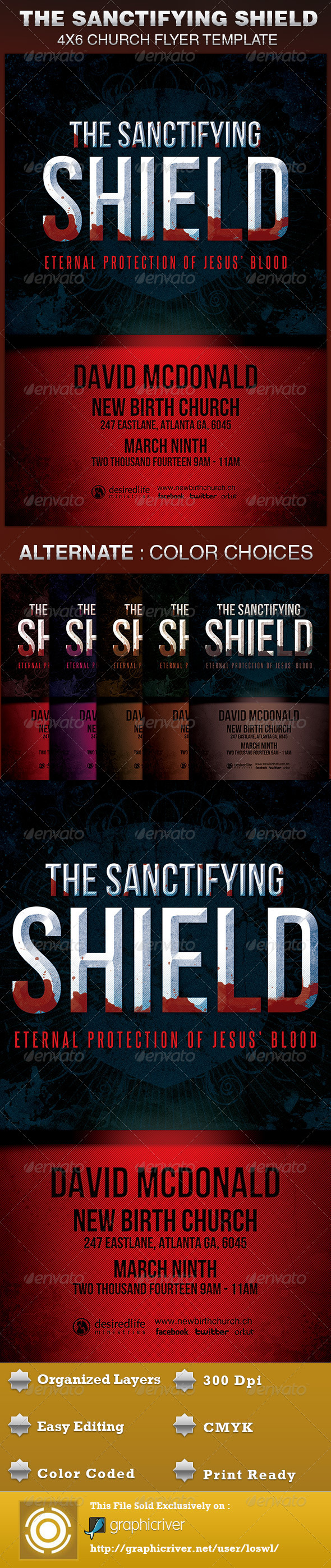 The Sanctifying Shield Church Flyer Template - Church Flyers