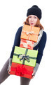 Happy woman carrying many presents - PhotoDune Item for Sale