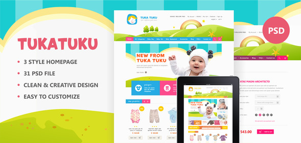 Tukatuku Shop - eCommerce PSD templates - Children Retail