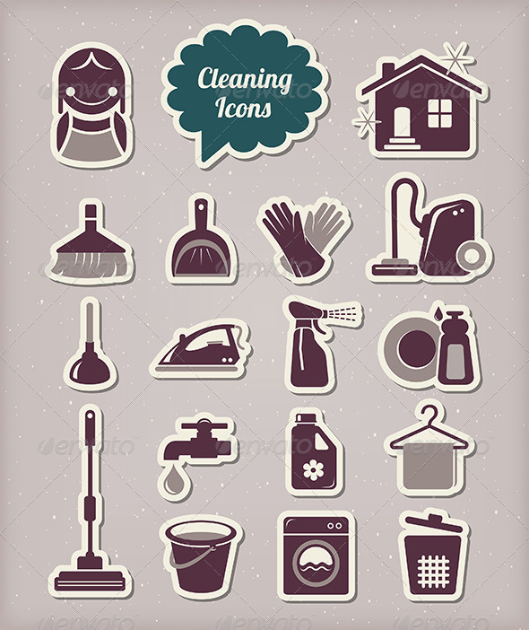 GraphicRiver Cleaning Icons Paper Cut Style 5663402
