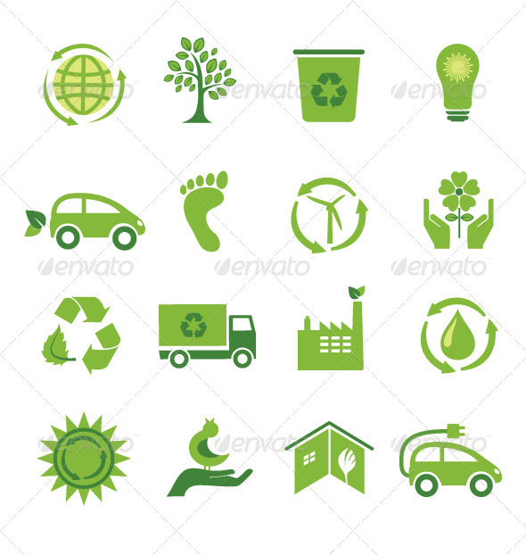 GraphicRiver Set of 16 Green Icons 5663410
