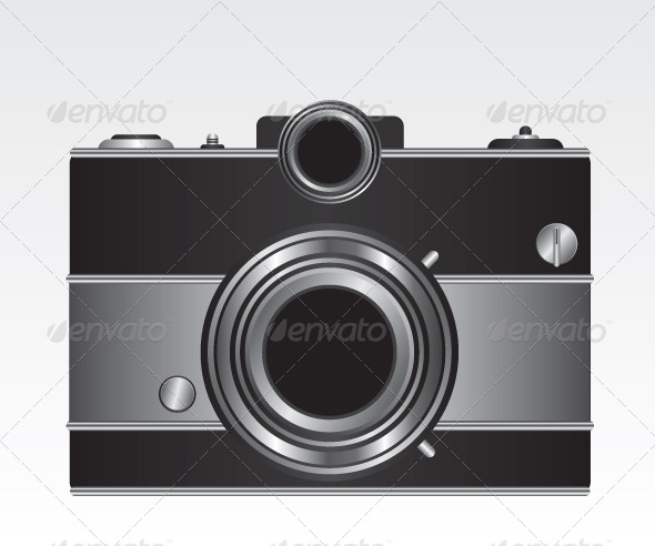 GraphicRiver Retro Black Camera Illustration 5663596