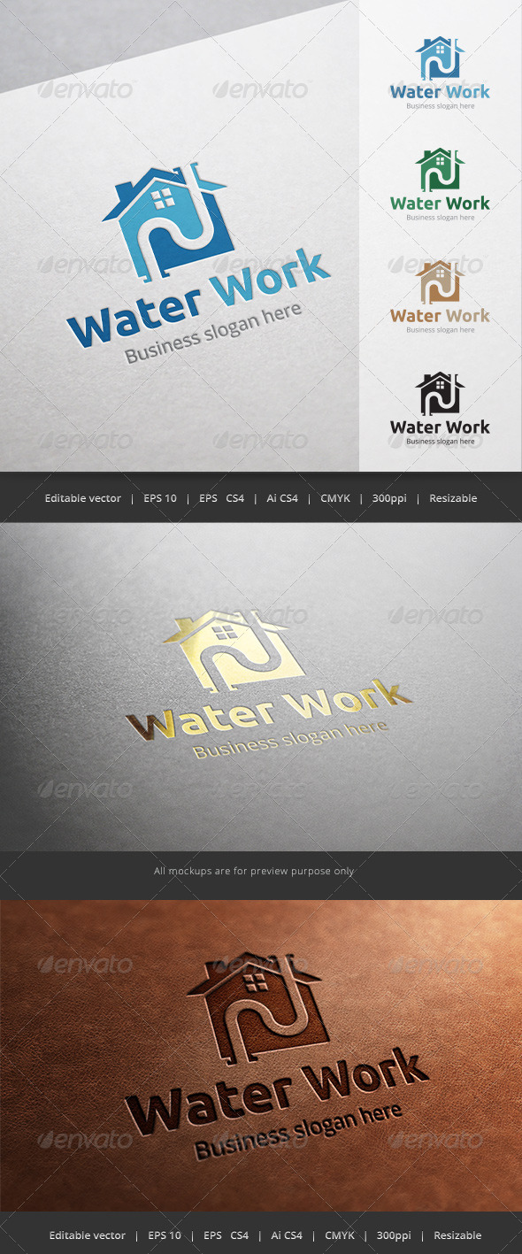 GraphicRiver Water Work Plumber Logo 5664159