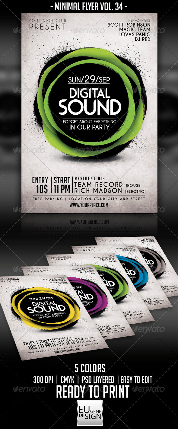 Minimal Flyer Vol. 34 - Clubs & Parties Events