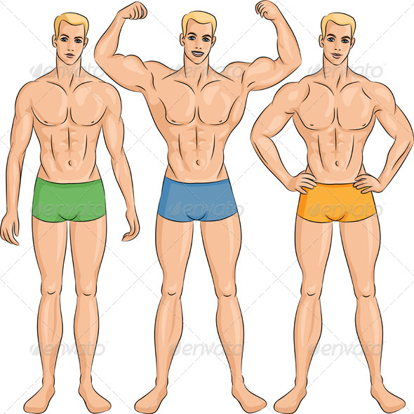 Vector Set of Young Athletic Guys in Shorts - People Characters