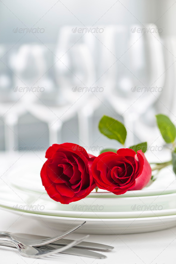 Romantic restaurant dinner setting - Stock Photo - Images