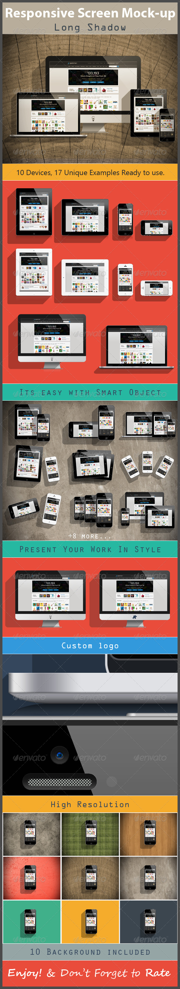 GraphicRiver Responsive Screen Mock-up Long Shadow 5669508