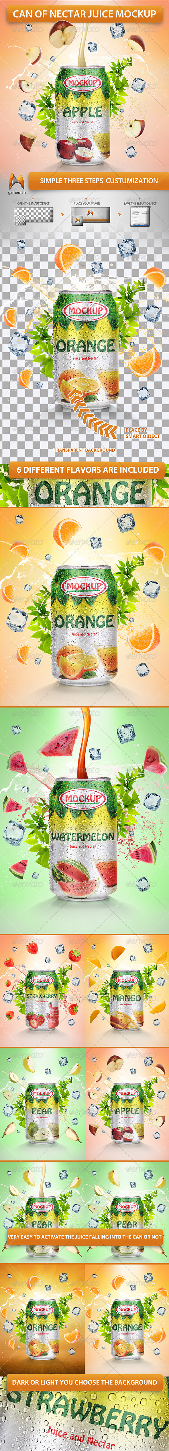 GraphicRiver Can of Nectar Juice Mockup 5672773