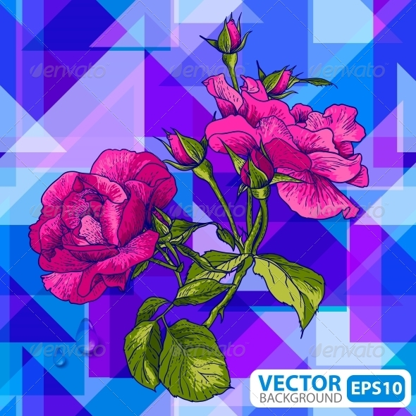 GraphicRiver Flowers on a Geometric Background 5674001