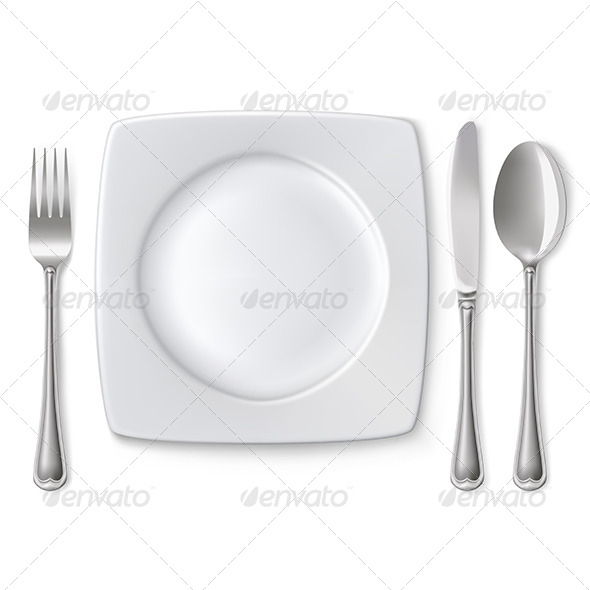 GraphicRiver Plate with Spoon Knife and Fork 5674283