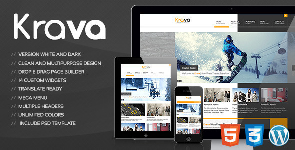 Kravais a very clean and creative designed responsive Wordpress template for multi purpose. The template can be used on any device. If you bought
