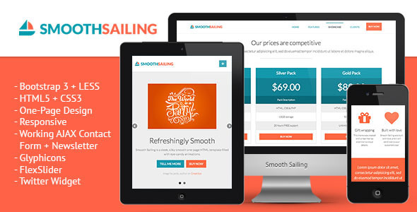 Smooth Sailing One Page Bootstrap 3 Landing Page By