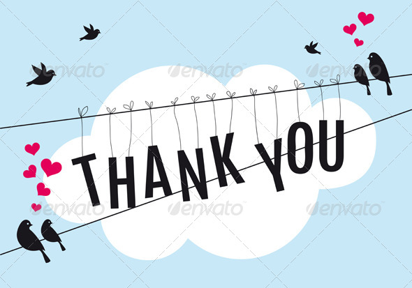 GraphicRiver Thank You Card with Birds In the Sky 5677526