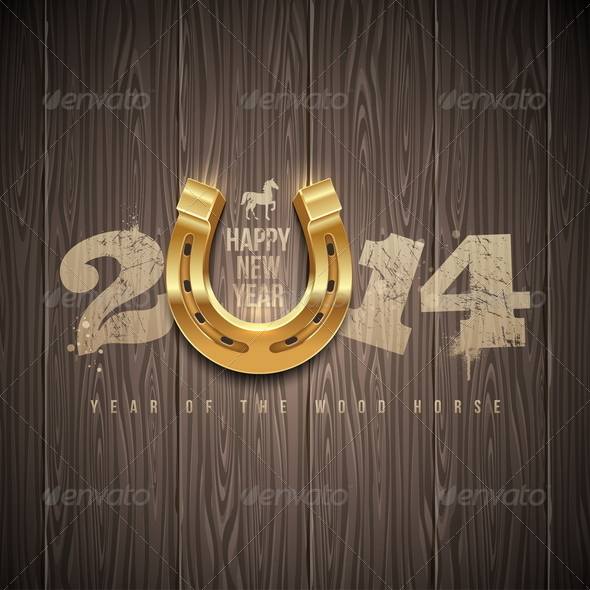 GraphicRiver New 2014 Year Greetings Design with Horseshoe 5677643