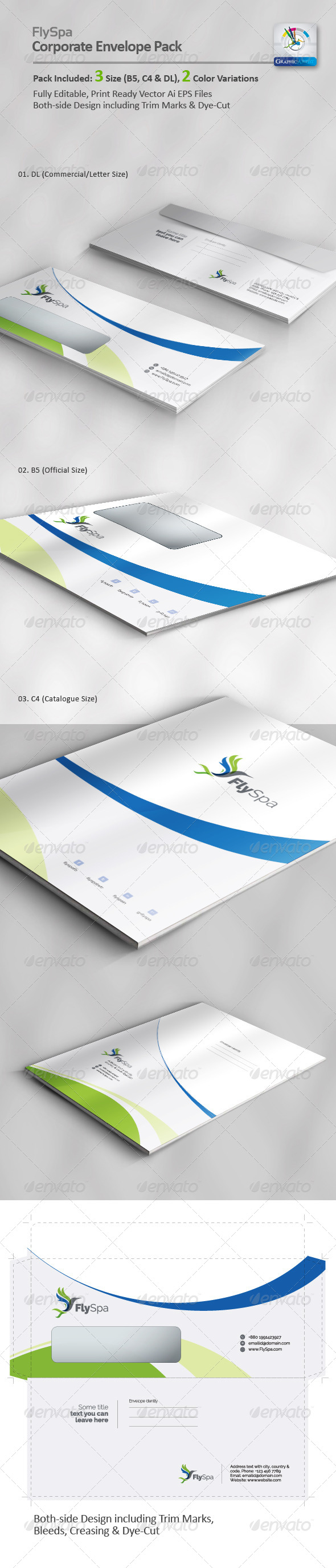 GraphicRiver FlySpa Corporate Envelope Pack 5678058